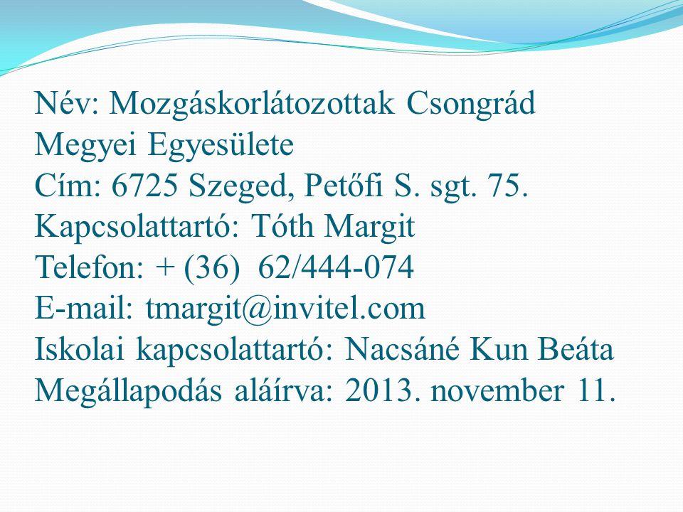 Név: Mozgáskorlátozottak Csongrád Megyei Egyesülete Cím: 6725 Szeged, Petőfi S.