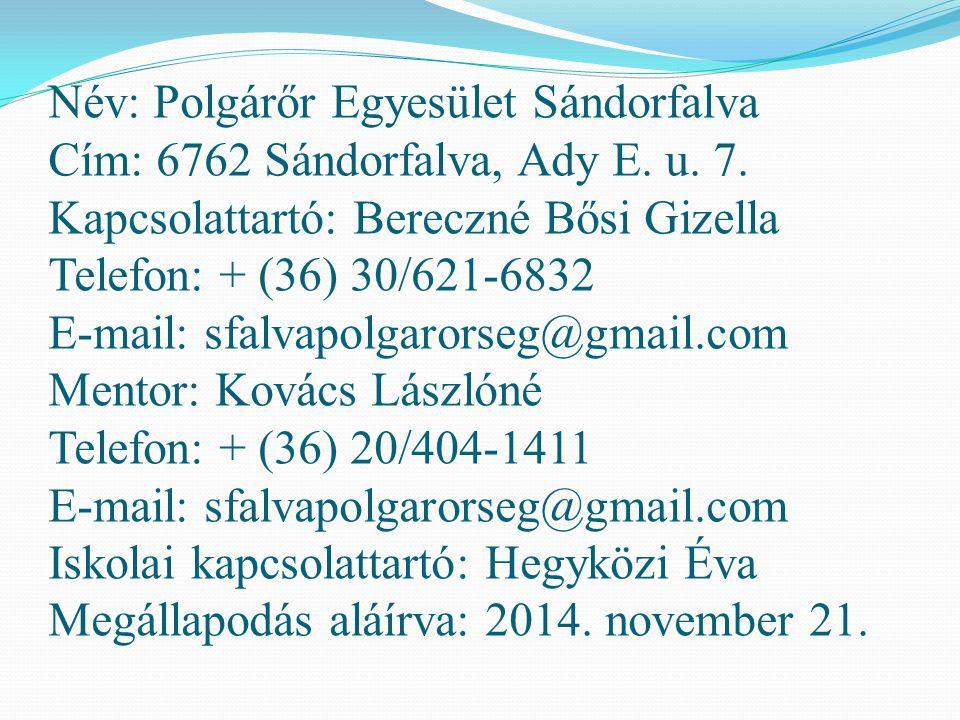 Név: Polgárőr Egyesület Sándorfalva Cím: 6762 Sándorfalva, Ady E. u. 7