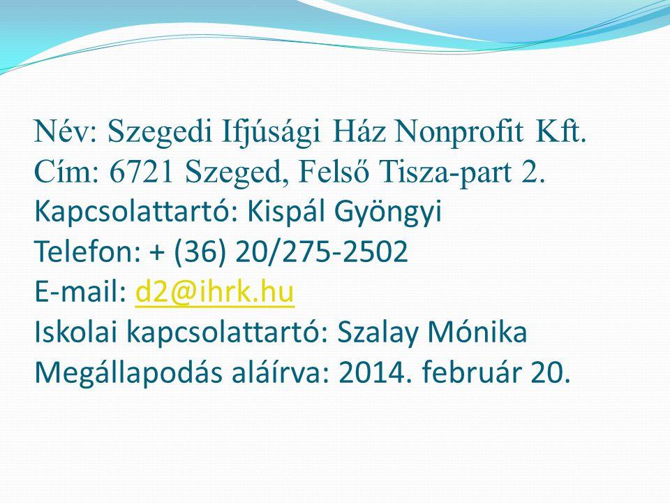 Név: Szegedi Ifjúsági Ház Nonprofit Kft