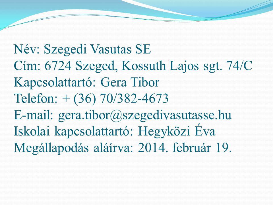 Név: Szegedi Vasutas SE Cím: 6724 Szeged, Kossuth Lajos sgt