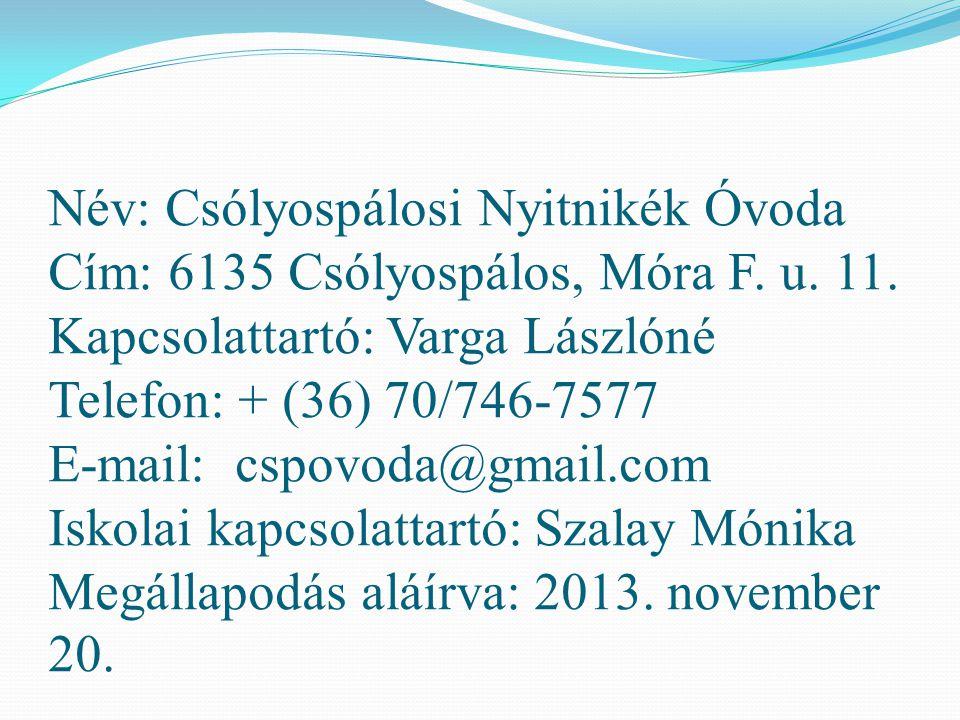 Név: Csólyospálosi Nyitnikék Óvoda Cím: 6135 Csólyospálos, Móra F. u
