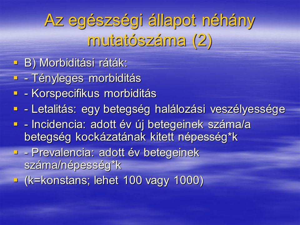 Az egészségi állapot néhány mutatószáma (2)