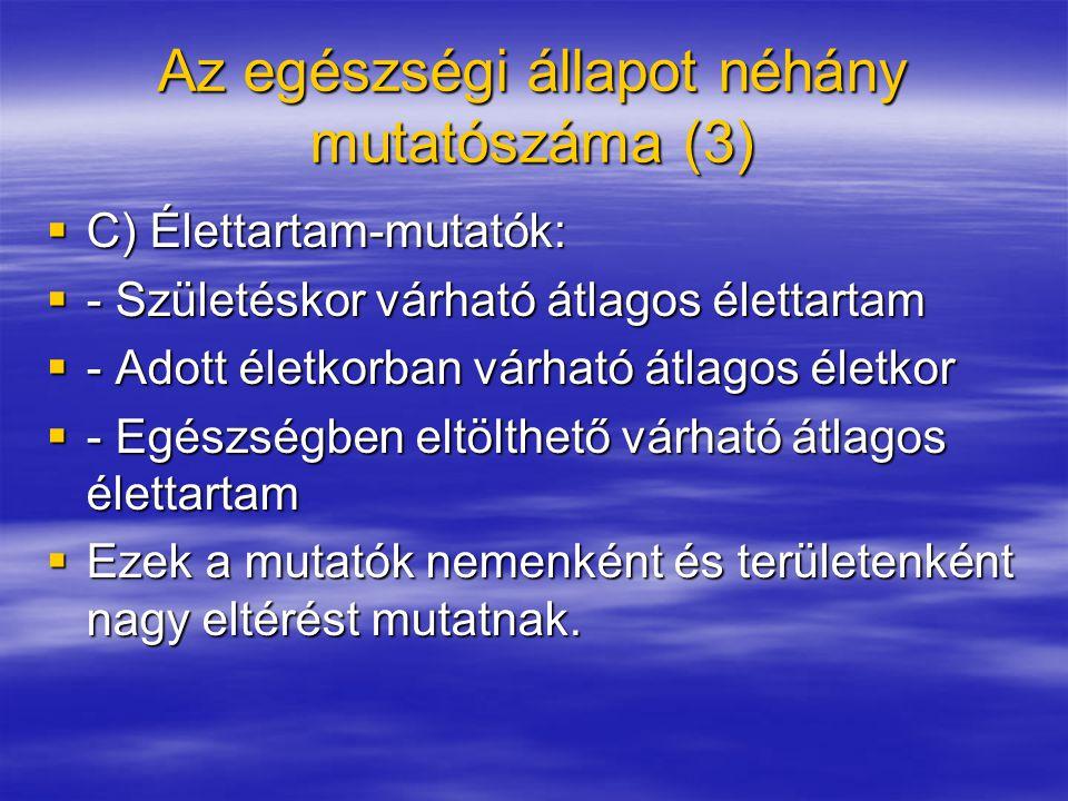 Az egészségi állapot néhány mutatószáma (3)