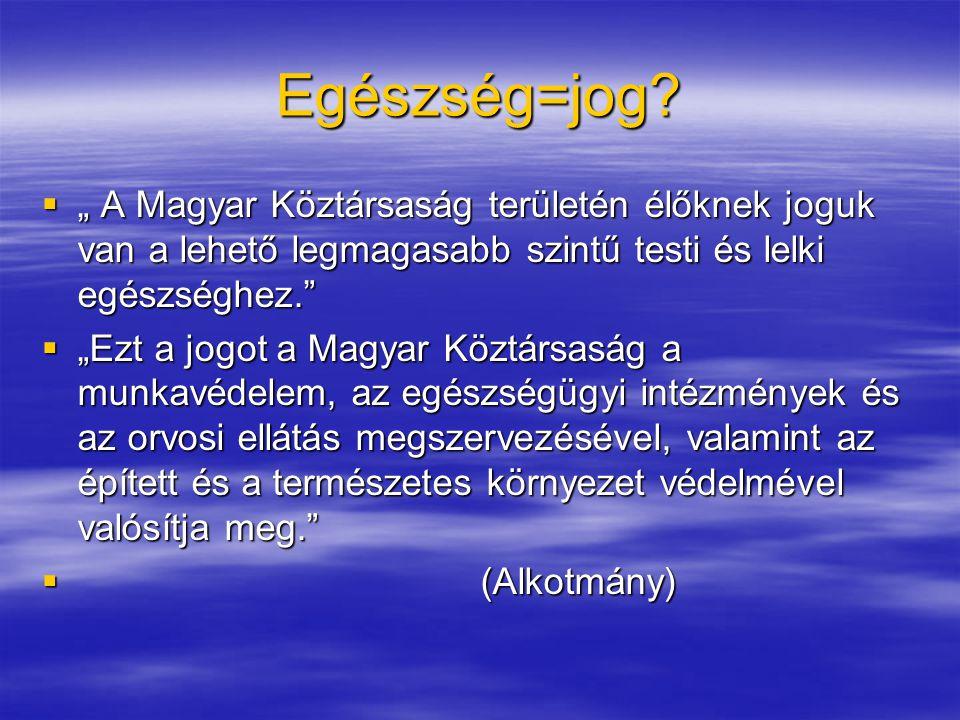 """Egészség=jog """" A Magyar Köztársaság területén élőknek joguk van a lehető legmagasabb szintű testi és lelki egészséghez."""
