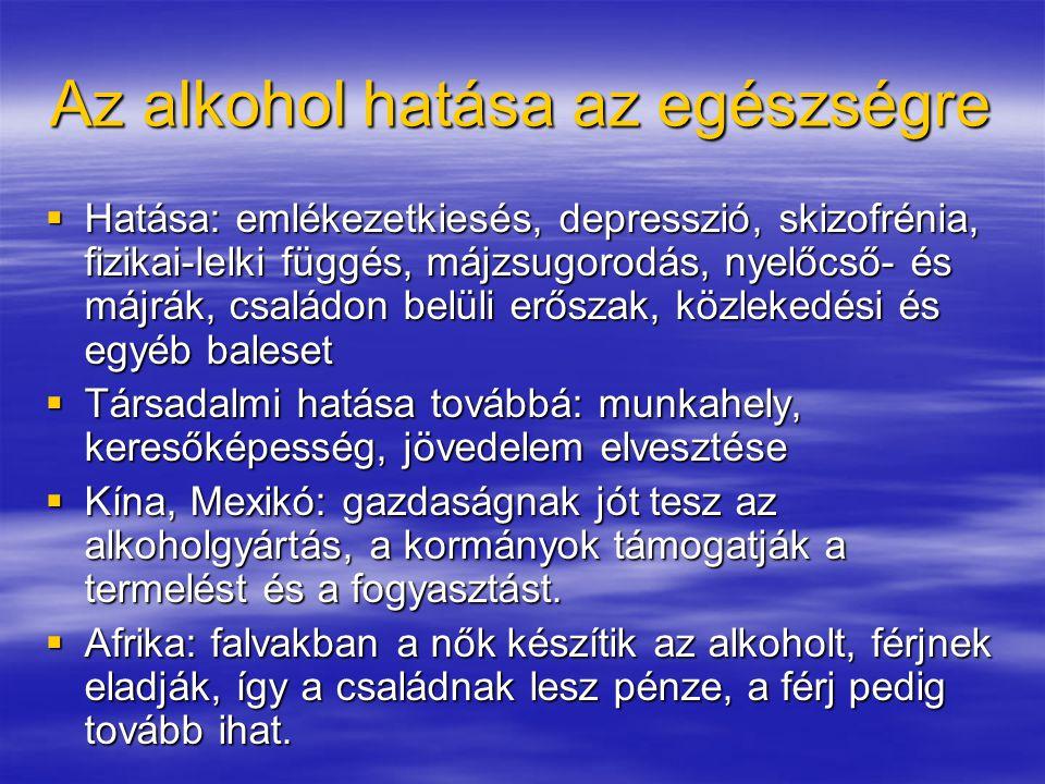 Az alkohol hatása az egészségre