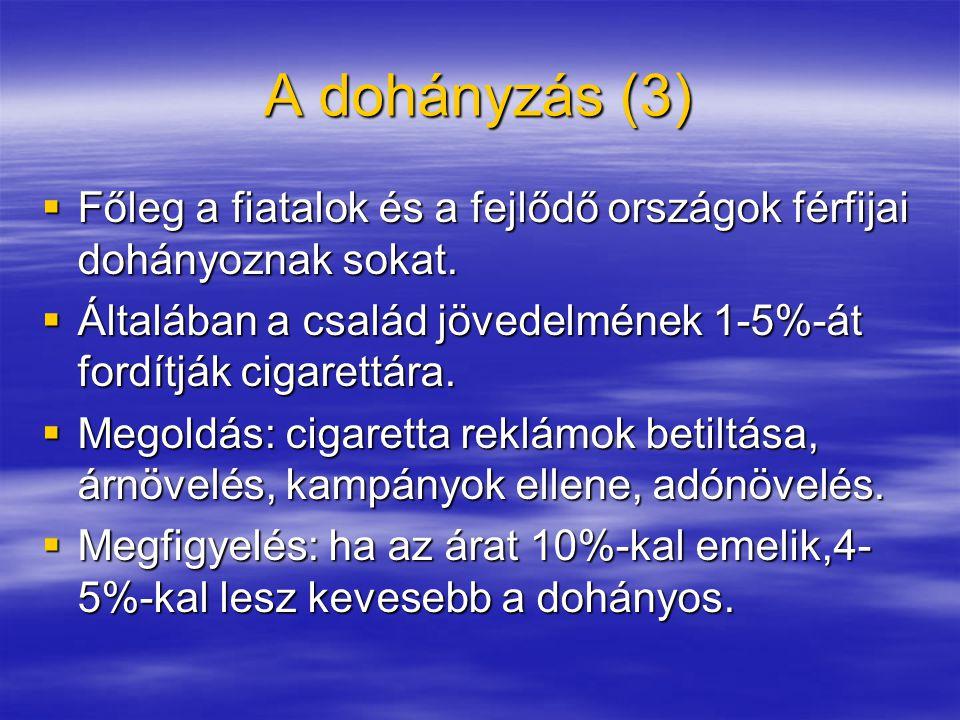 A dohányzás (3) Főleg a fiatalok és a fejlődő országok férfijai dohányoznak sokat. Általában a család jövedelmének 1-5%-át fordítják cigarettára.