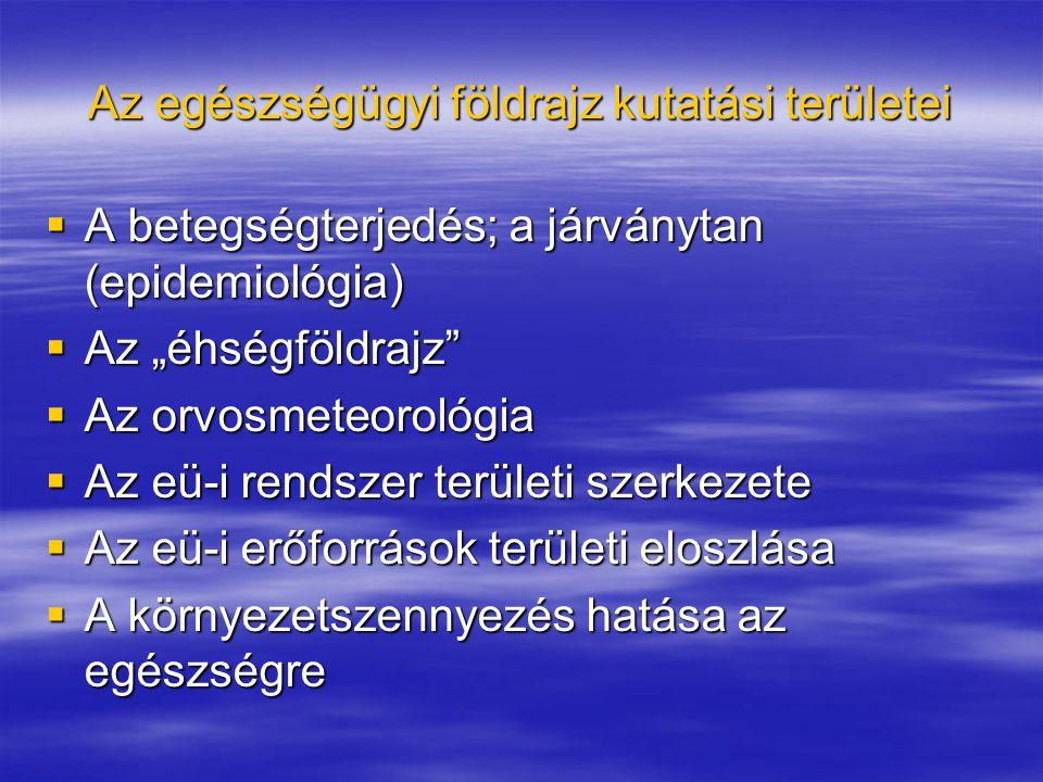 Az egészségügyi földrajz kutatási területei