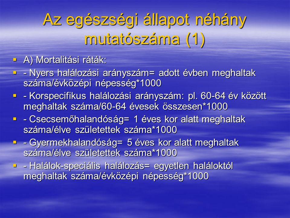 Az egészségi állapot néhány mutatószáma (1)