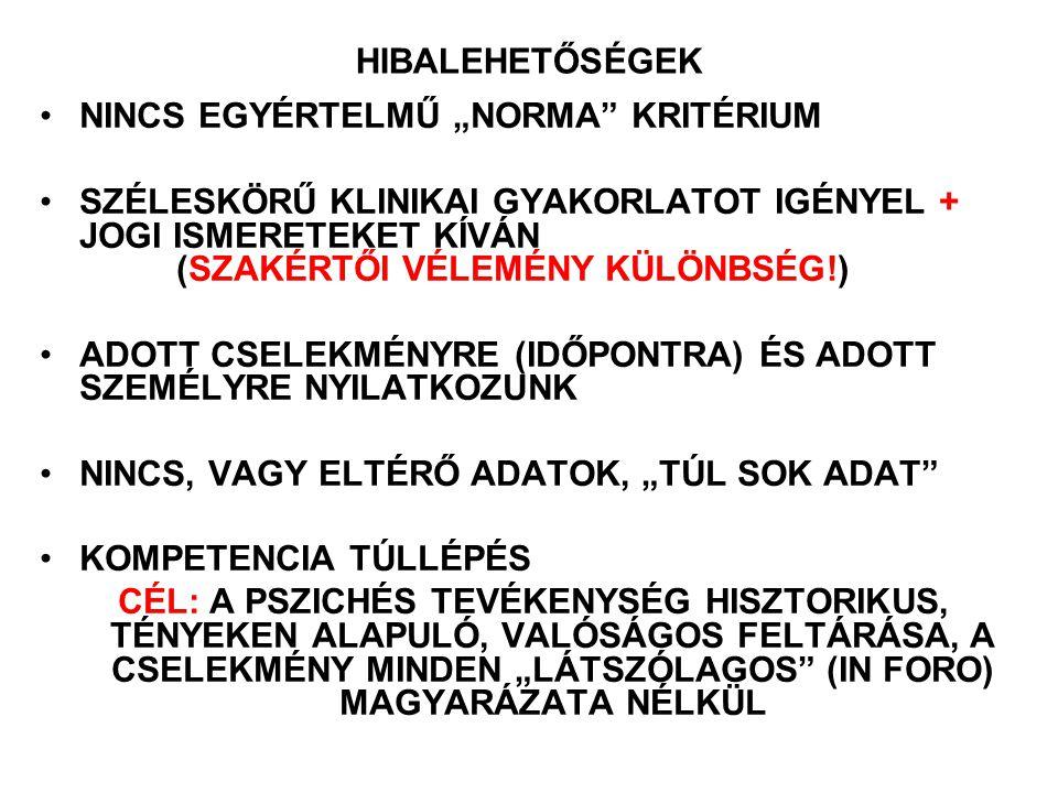 """HIBALEHETŐSÉGEK NINCS EGYÉRTELMŰ """"NORMA KRITÉRIUM."""