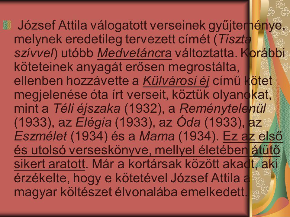 József Attila válogatott verseinek gyűjteménye, melynek eredetileg tervezett címét (Tiszta szívvel) utóbb Medvetáncra változtatta.