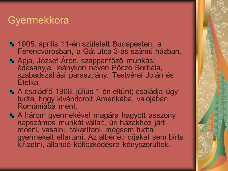 Gyermekkora 1905. április 11-én született Budapesten, a Ferencvárosban, a Gát utca 3-as számú házban.