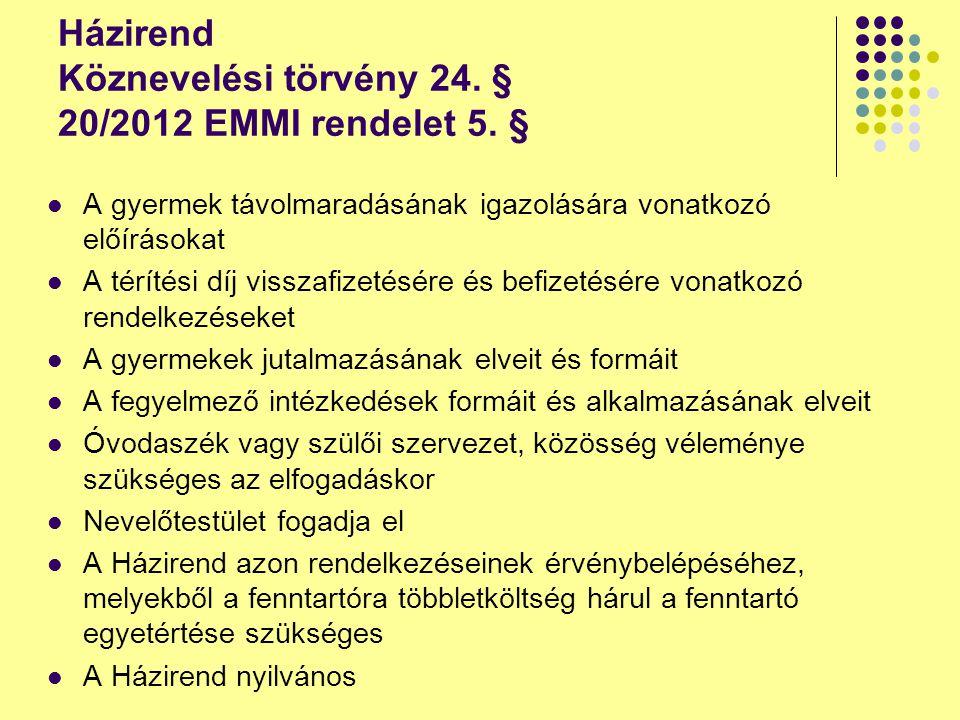 Házirend Köznevelési törvény 24. § 20/2012 EMMI rendelet 5. §