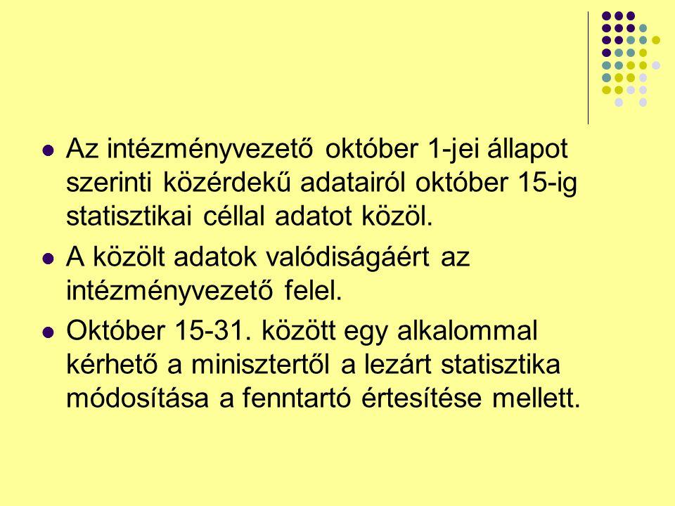 Az intézményvezető október 1-jei állapot szerinti közérdekű adatairól október 15-ig statisztikai céllal adatot közöl.