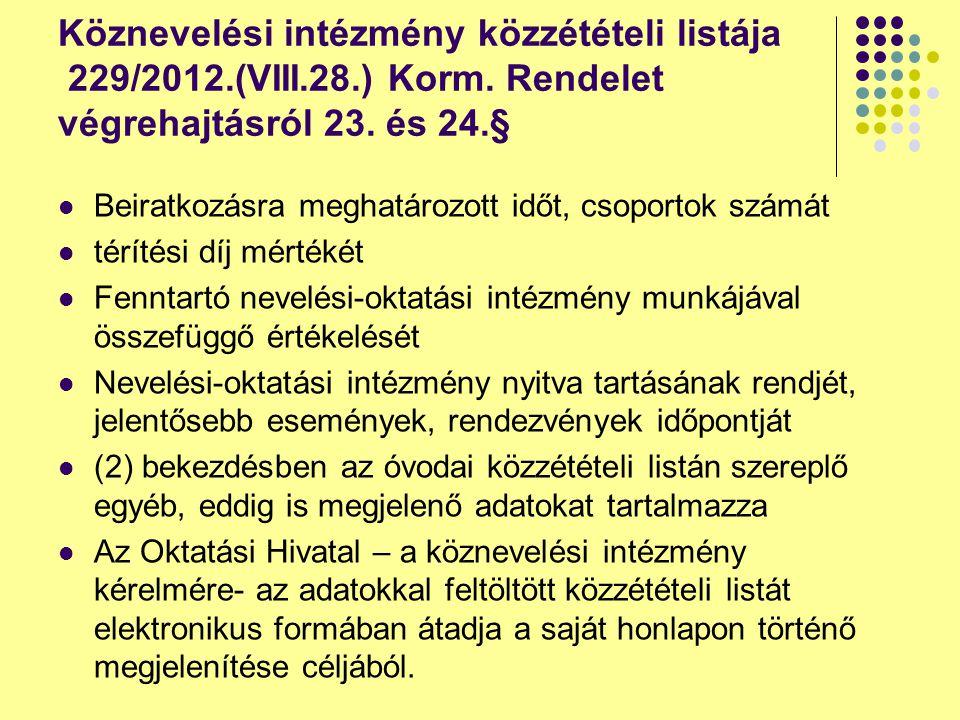 Köznevelési intézmény közzétételi listája 229/2012. (VIII. 28. ) Korm