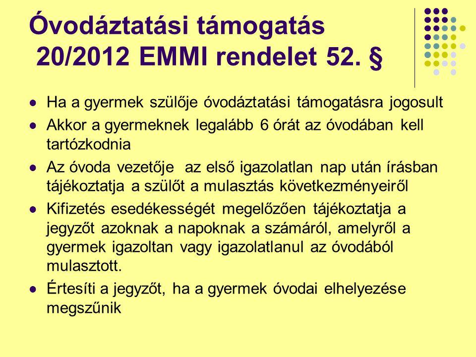 Óvodáztatási támogatás 20/2012 EMMI rendelet 52. §