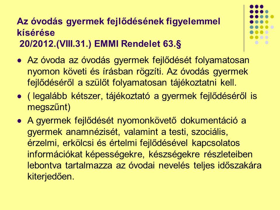 Az óvodás gyermek fejlődésének figyelemmel kísérése 20/2012. (VIII. 31