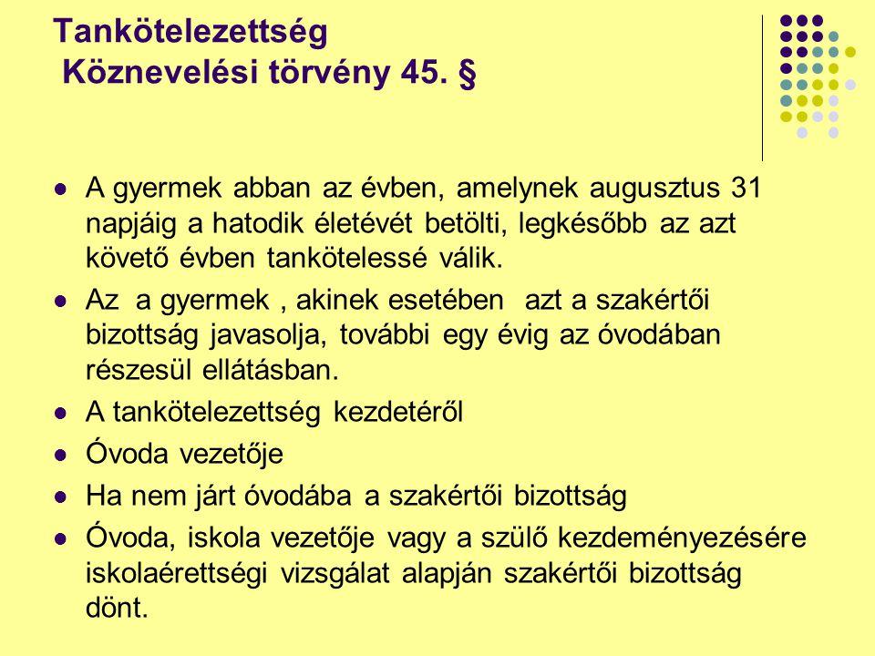 Tankötelezettség Köznevelési törvény 45. §