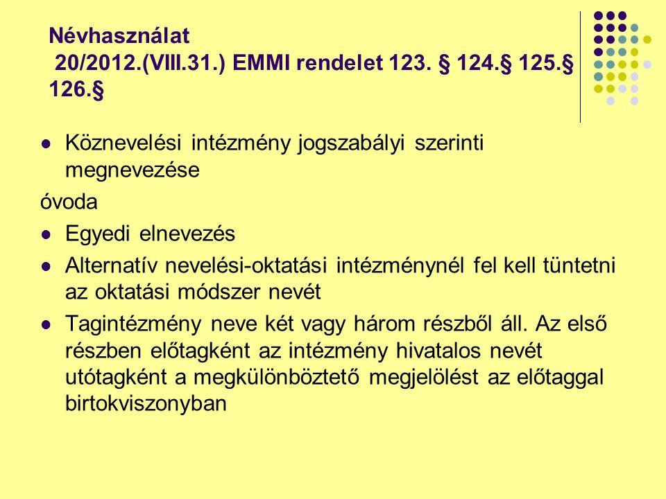 Névhasználat 20/2012.(VIII.31.) EMMI rendelet 123. § 124.§ 125.§ 126.§