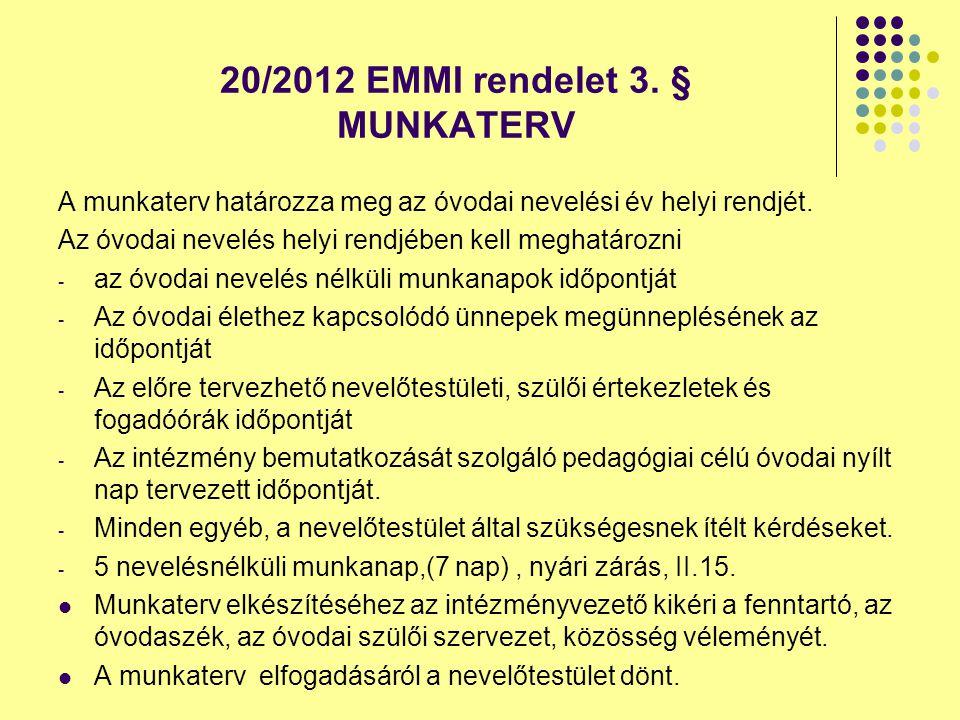 20/2012 EMMI rendelet 3. § MUNKATERV