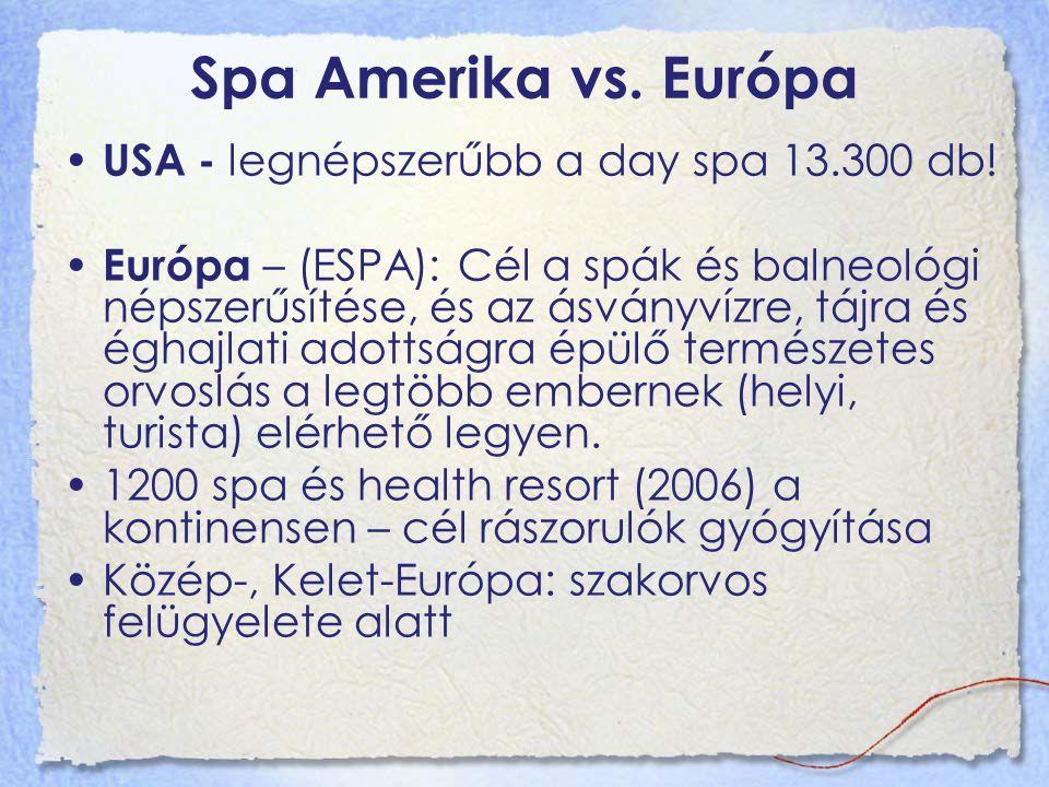 Spa Amerika vs. Európa USA - legnépszerűbb a day spa 13.300 db!