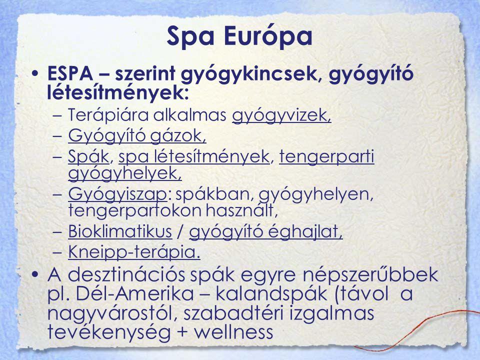Spa Európa ESPA – szerint gyógykincsek, gyógyító létesítmények: