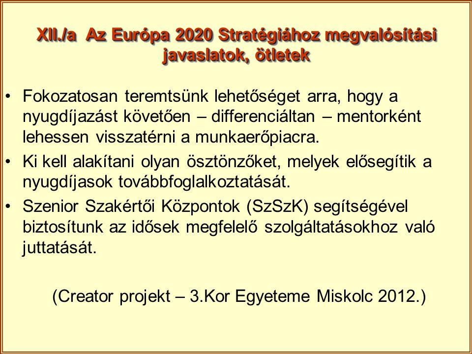 XII./a Az Európa 2020 Stratégiához megvalósítási javaslatok, ötletek