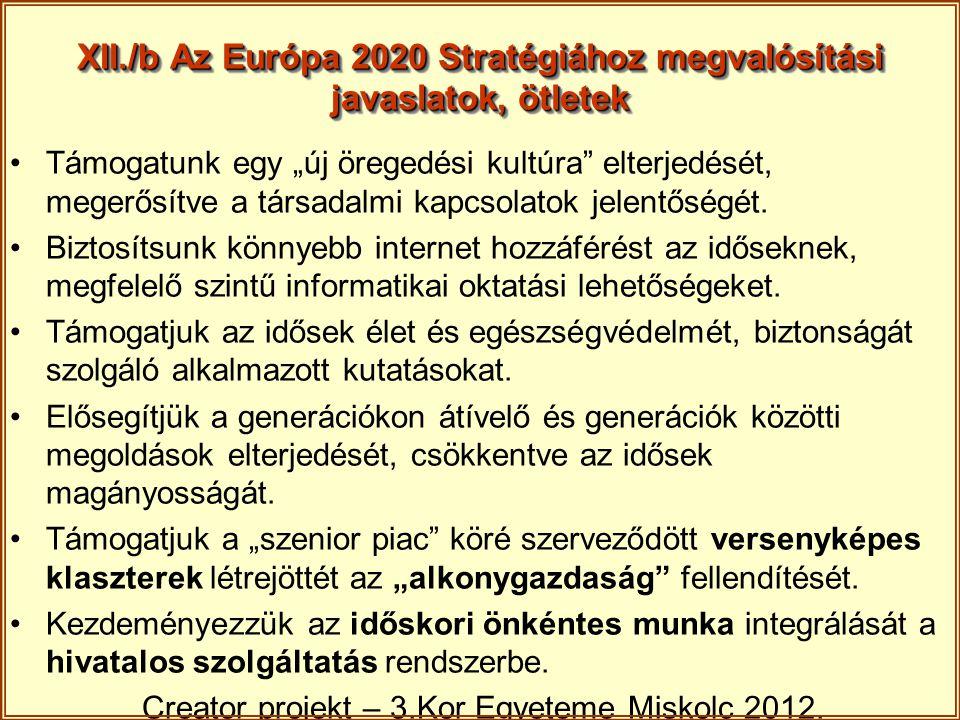 XII./b Az Európa 2020 Stratégiához megvalósítási javaslatok, ötletek