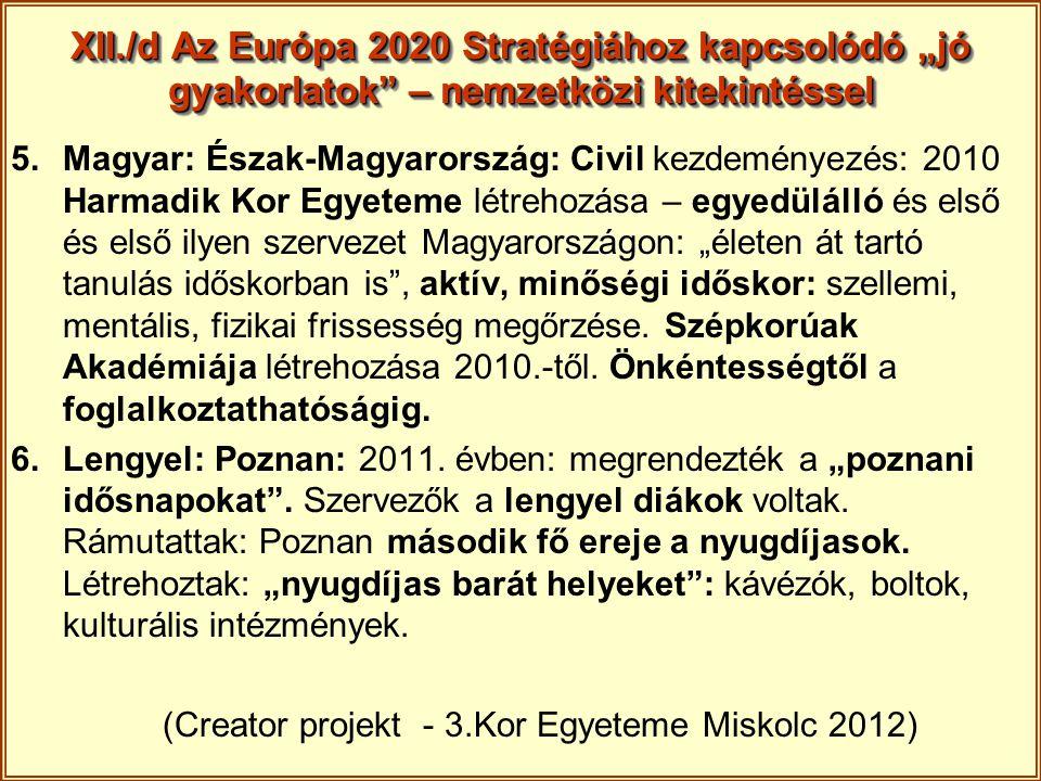 """XII./d Az Európa 2020 Stratégiához kapcsolódó """"jó gyakorlatok – nemzetközi kitekintéssel"""