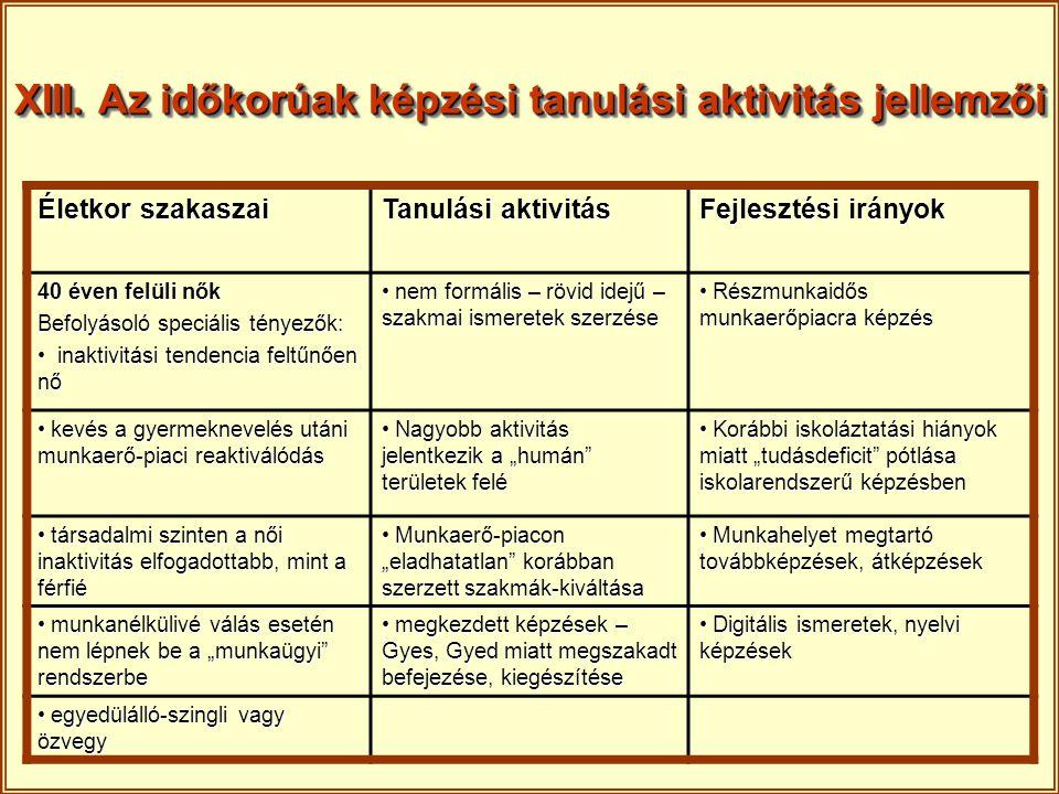 XIII. Az időkorúak képzési tanulási aktivitás jellemzői