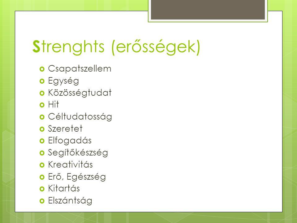 Strenghts (erősségek)