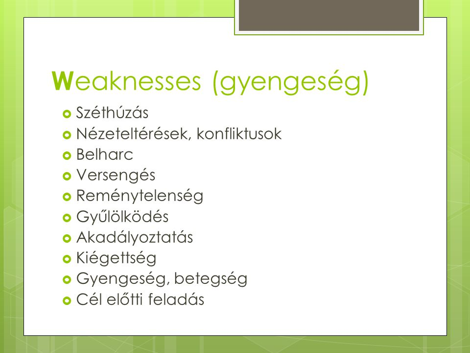 Weaknesses (gyengeség)