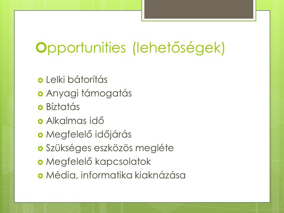 Opportunities (lehetőségek)