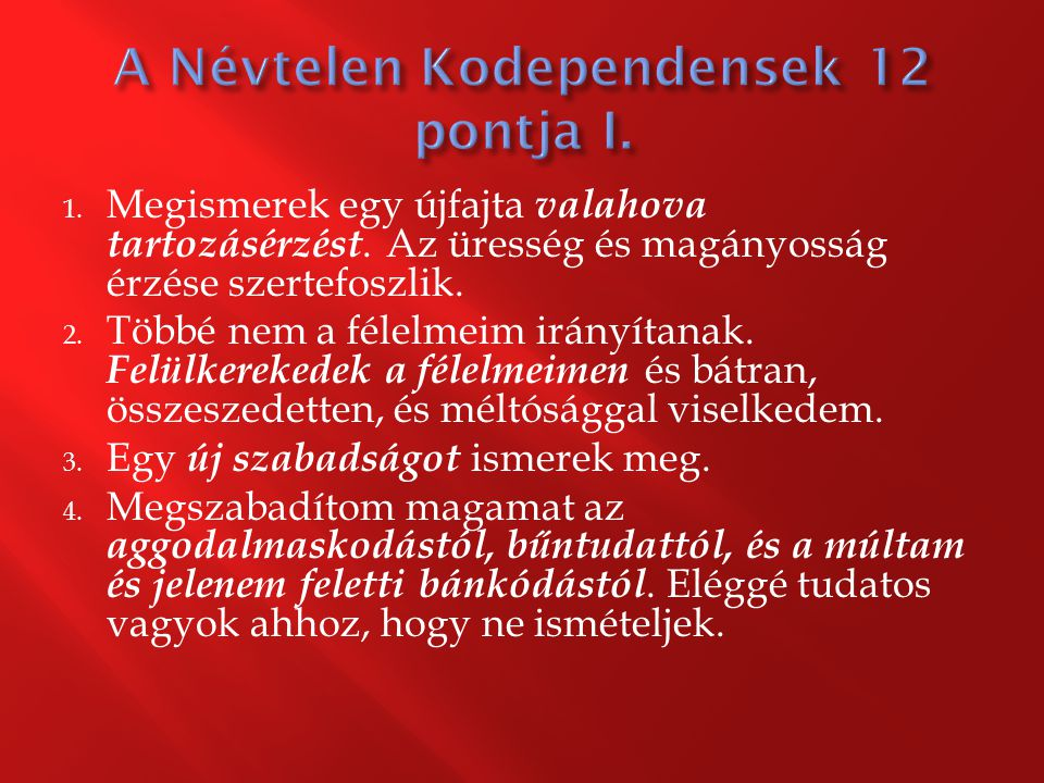 A Névtelen Kodependensek 12 pontja I.