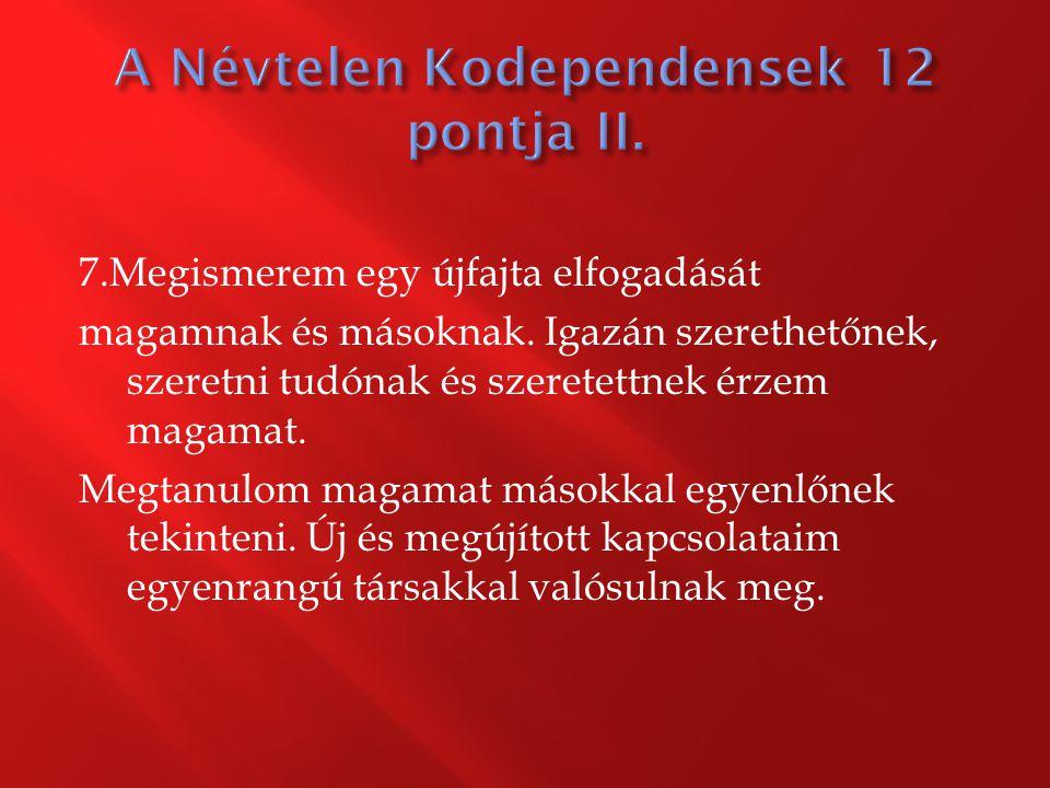 A Névtelen Kodependensek 12 pontja II.