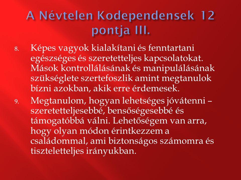 A Névtelen Kodependensek 12 pontja III.