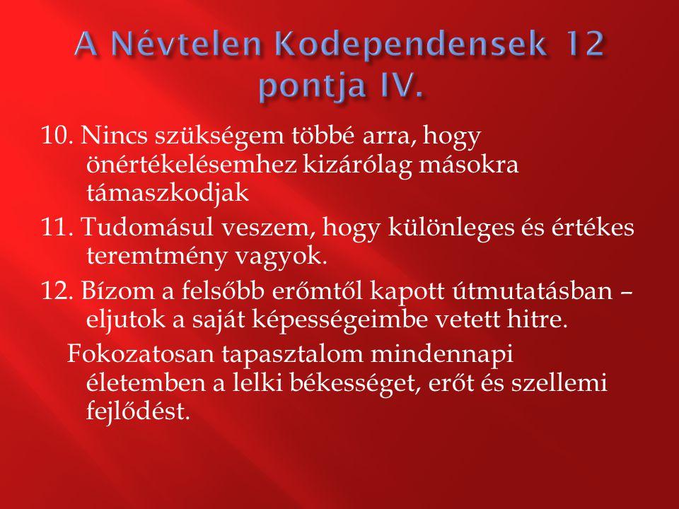 A Névtelen Kodependensek 12 pontja IV.