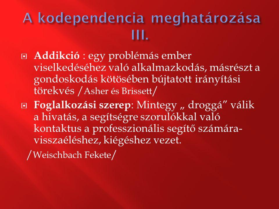 A kodependencia meghatározása III.