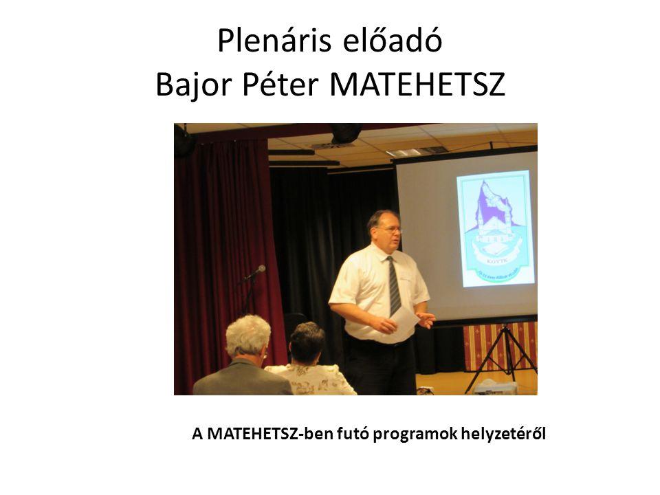 Plenáris előadó Bajor Péter MATEHETSZ