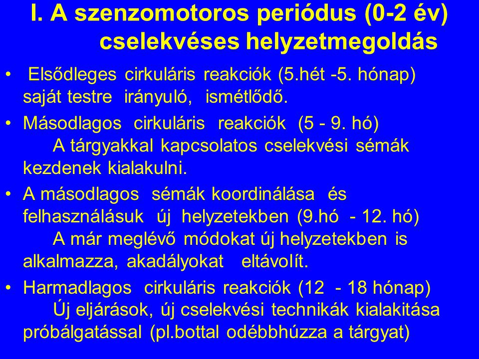 I. A szenzomotoros periódus (0-2 év) cselekvéses helyzetmegoldás