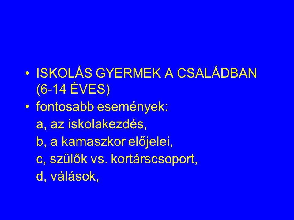 ISKOLÁS GYERMEK A CSALÁDBAN (6-14 ÉVES)