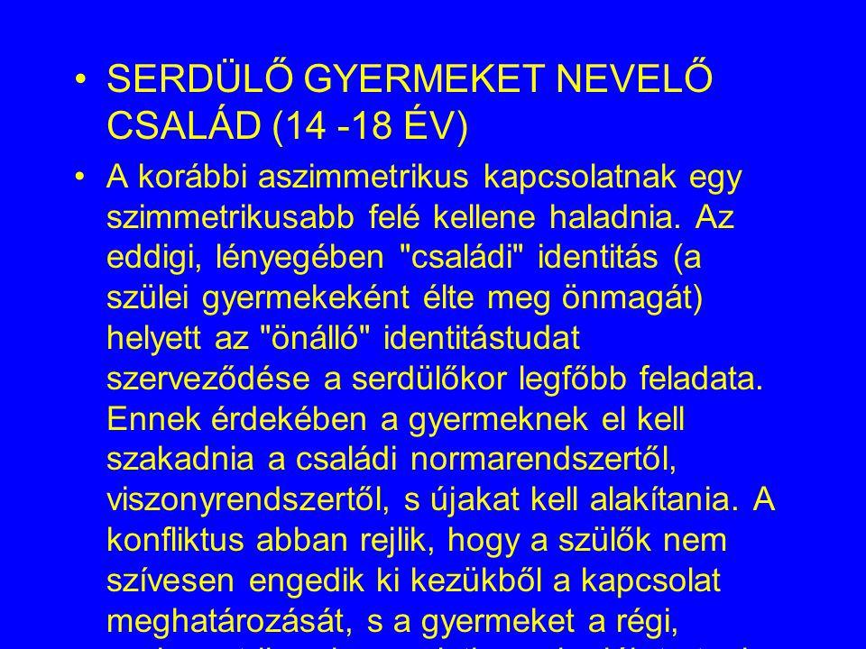 SERDÜLŐ GYERMEKET NEVELŐ CSALÁD (14 -18 ÉV)