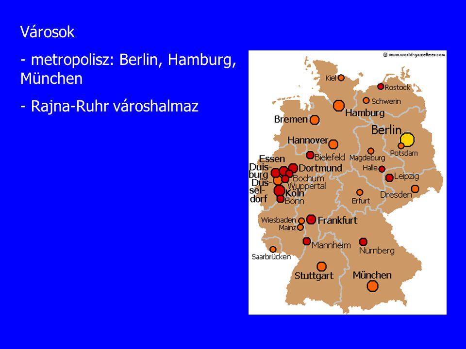 Városok - metropolisz: Berlin, Hamburg, München Rajna-Ruhr városhalmaz