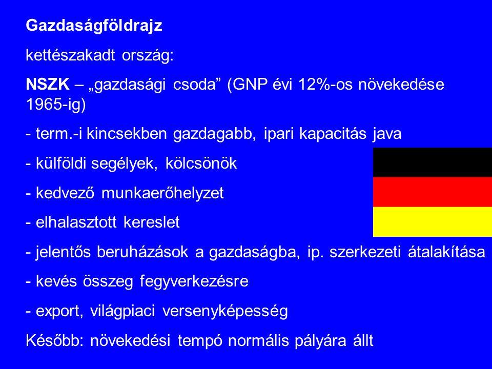 """Gazdaságföldrajz kettészakadt ország: NSZK – """"gazdasági csoda (GNP évi 12%-os növekedése 1965-ig)"""