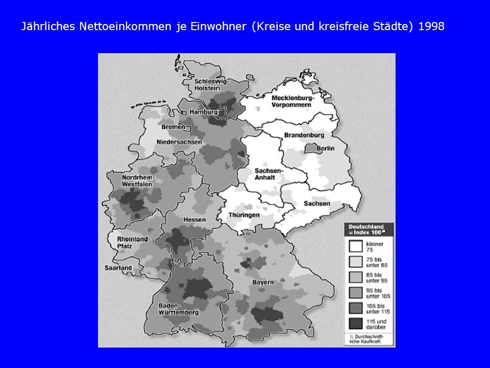Jährliches Nettoeinkommen je Einwohner (Kreise und kreisfreie Städte) 1998