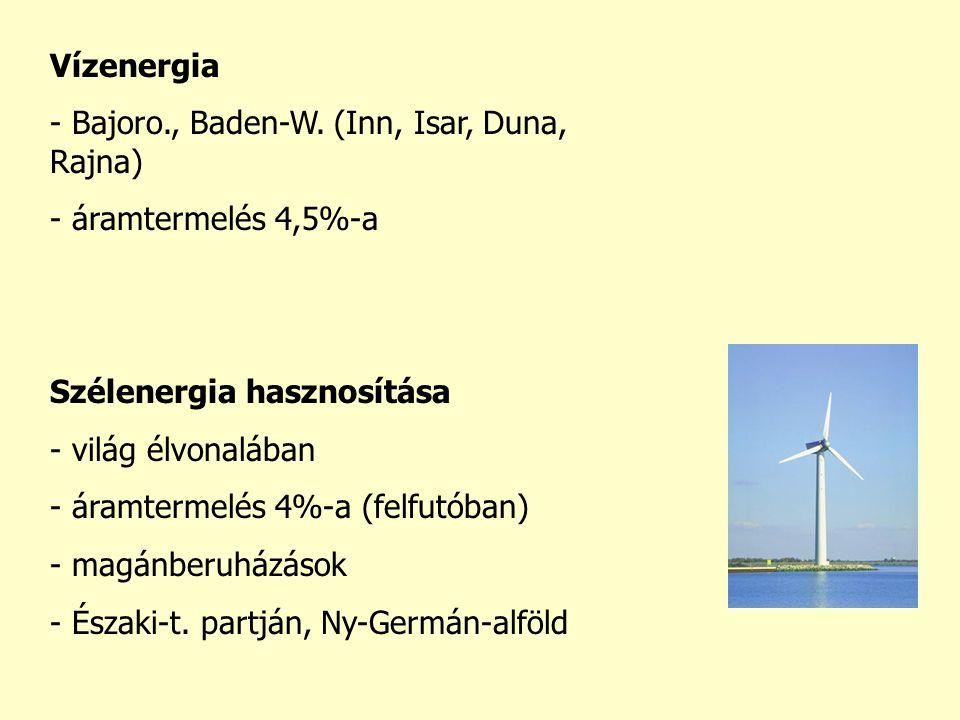 Vízenergia Bajoro., Baden-W. (Inn, Isar, Duna, Rajna) áramtermelés 4,5%-a. Szélenergia hasznosítása.