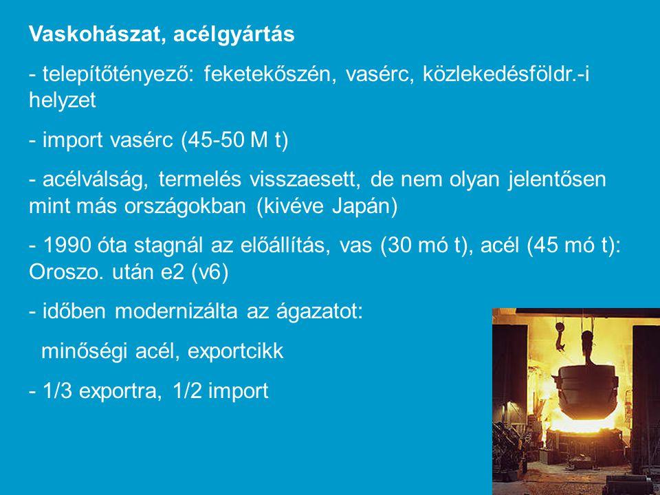 Vaskohászat, acélgyártás