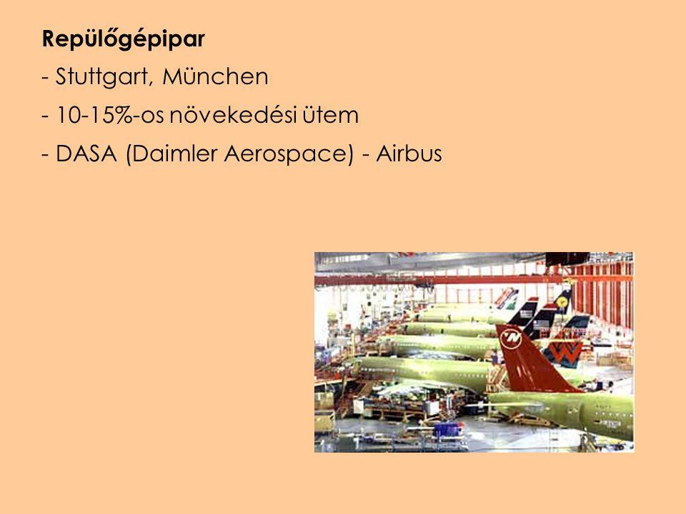Repülőgépipar Stuttgart, München 10-15%-os növekedési ütem DASA (Daimler Aerospace) - Airbus