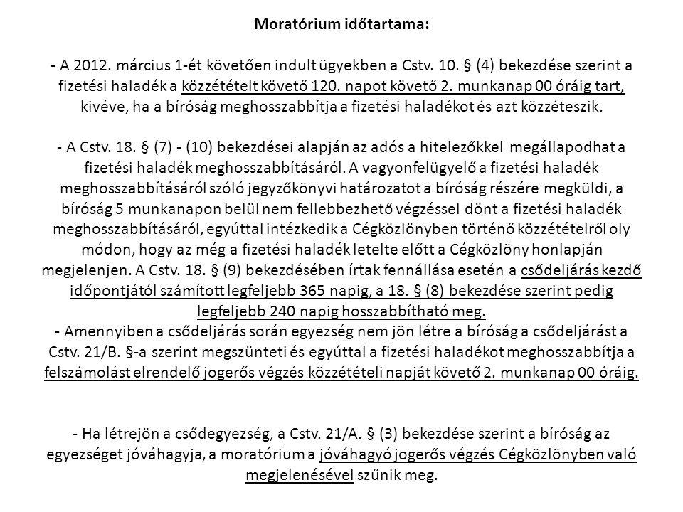 Moratórium időtartama: - A 2012