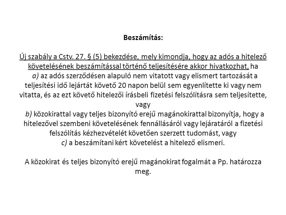 Beszámítás: Új szabály a Cstv. 27