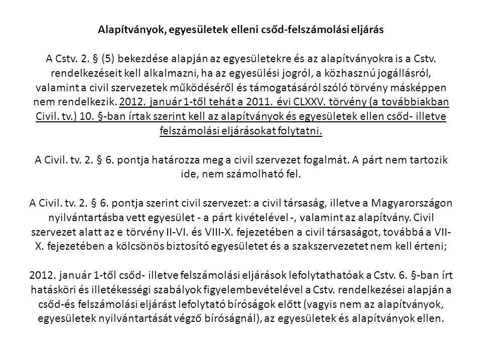 Alapítványok, egyesületek elleni csőd-felszámolási eljárás A Cstv. 2